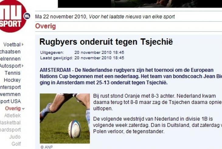 Ragbisté Česka vyhráli nad Nizozemskem 25:13