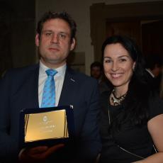 Ragbyový trenér roku 2018 Roman Šuster s manželkou, které veřejně poděkoval, že jej podporuje v jeho práci pro české ragby